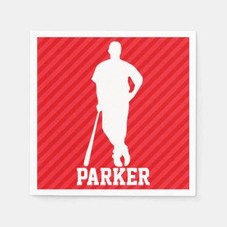 Baseball Player; Scarlet Red Stripes Paper Napkin
