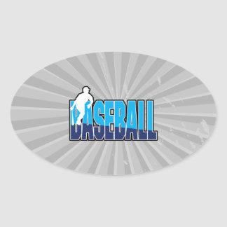 baseball player silhouette and text logo oval sticker