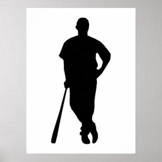 Baseball Player Silhouette Poster