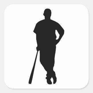 Baseball Player Silhouette Square Sticker