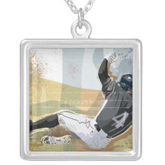 Baseball Player Sliding 2 Silver Plated Necklace