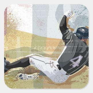 Baseball Player Sliding 2 Square Sticker