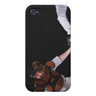 Baseball player sliding into a base iPhone 4 covers