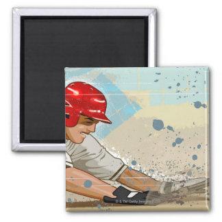 Baseball player sliding into base magnet