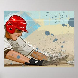 Baseball player sliding into base poster