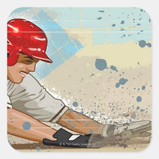 Baseball player sliding into base square sticker