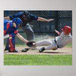 Baseball player sliding into home plate print