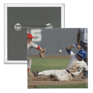 Baseball player sliding into third base with 15 cm square badge