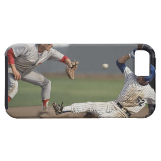 Baseball player sliding into third base with iPhone 5 cases