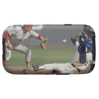 Baseball player sliding into third base with galaxy s3 covers