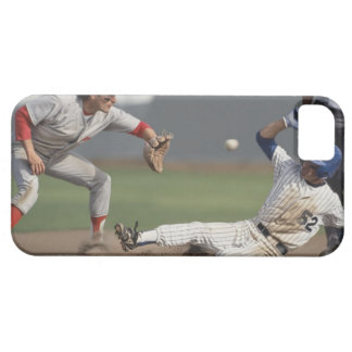 Baseball player sliding into third base with iPhone 5 case