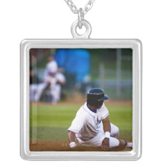 Baseball player sliding onto a base silver plated necklace