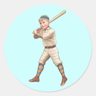 Baseball Player Round Sticker