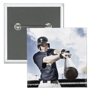 Baseball player swinging baseball bat 2 15 cm square badge