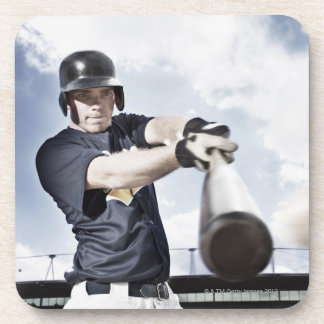 Baseball player swinging baseball bat 2 coaster