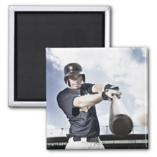 Baseball player swinging baseball bat 2 magnet