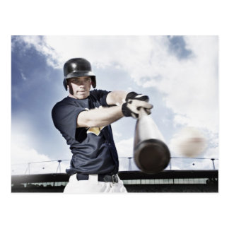 Baseball player swinging baseball bat 2 postcard
