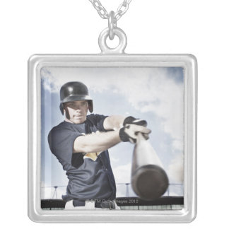 Baseball player swinging baseball bat 2 silver plated necklace