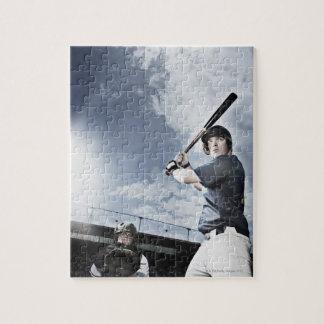 Baseball player swinging baseball bat jigsaw puzzle