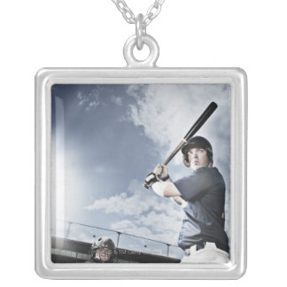 Baseball player swinging baseball bat silver plated necklace