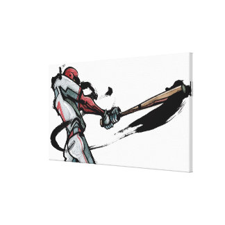 Baseball player swinging bat, side view canvas print