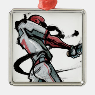 Baseball player swinging bat, side view christmas ornament