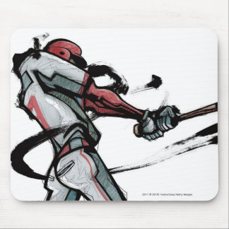 Baseball player swinging bat, side view mouse mat