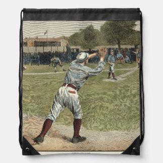 Baseball Player Thrown Out at Second Base Drawstring Bag
