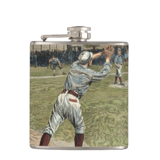 Baseball Player Thrown Out at Second Base Flasks