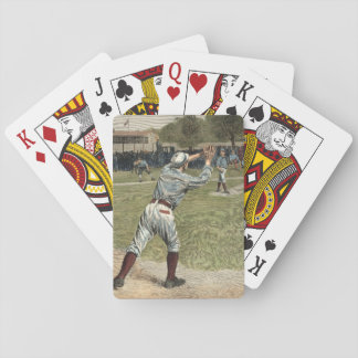 Baseball Player Thrown Out at Second Base Playing Cards