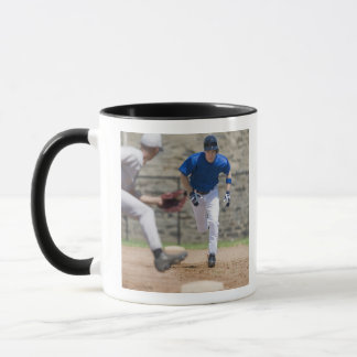 Baseball player trying to steal base mug