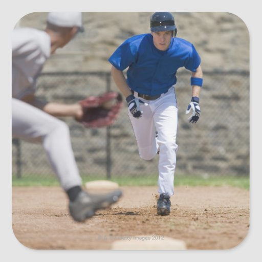 Baseball player trying to steal base sticker