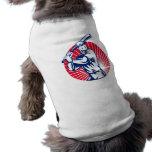 Baseball player with bat batting woodcut doggie t shirt