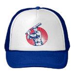 Baseball player with bat batting woodcut hat