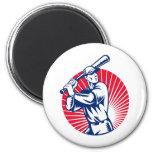 Baseball player with bat batting woodcut fridge magnet