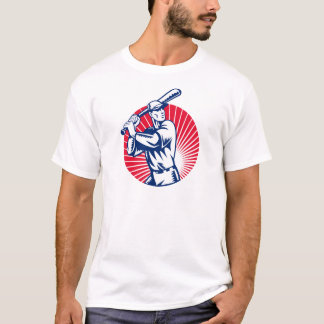 Baseball player with bat batting woodcut T-Shirt