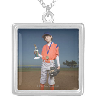 Baseball player with trophy and medal silver plated necklace
