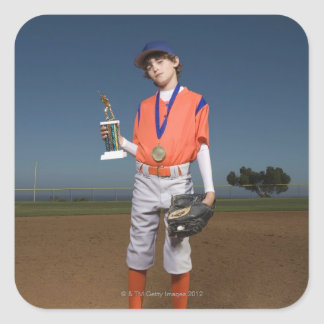 Baseball player with trophy and medal square sticker