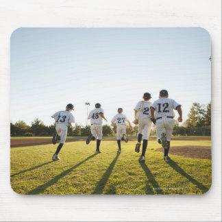 Baseball players (10-11) running on baseball mouse mat