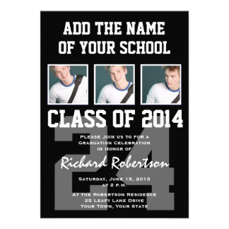 Baseball Player's Graduation Class of 2014 Varsity Personalized Invitations