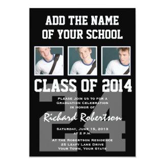 Baseball Player's Graduation Class of 2014 Varsity 5x7 Paper Invitation Card