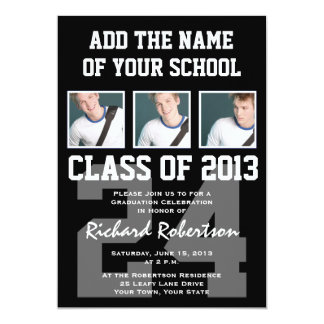 Baseball Player's Graduation with Uniform Number Card