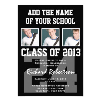 Baseball Player's Graduation with Uniform Number Custom Invites