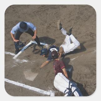 Baseball Players Sliding into Base Square Sticker