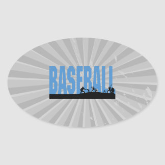 baseball players text design oval sticker