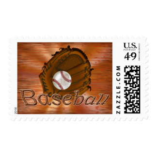 Baseball Postage Stamps Grunge Worn Out Ball Glove