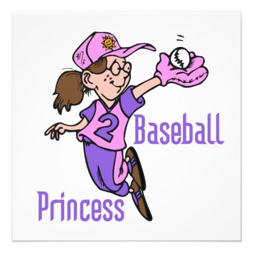 Baseball Princess T shirts and Gifts Custom Invites