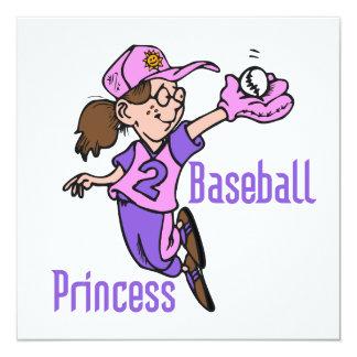 Baseball Princess T shirts and Gifts 5.25x5.25 Square Paper Invitation Card