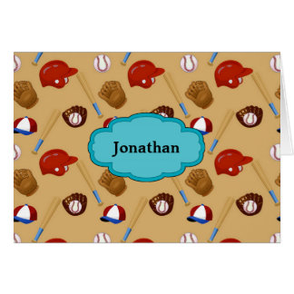 Baseball Print Personalized Note Card