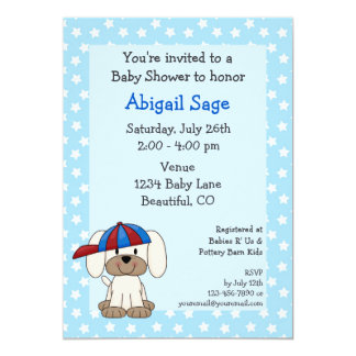 Baseball Puppy Baby Boy Shower Invitation